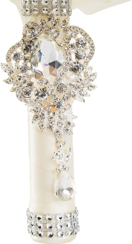 Ivory Silk Roses Wedding Bouquet with Diamante Rhinestone Brooches - World of Weddings