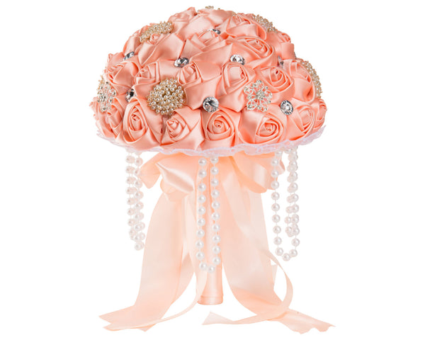 Peach Silk Rose Wedding Bouquet with Diamante Rhinestone Brooch - World of Weddings