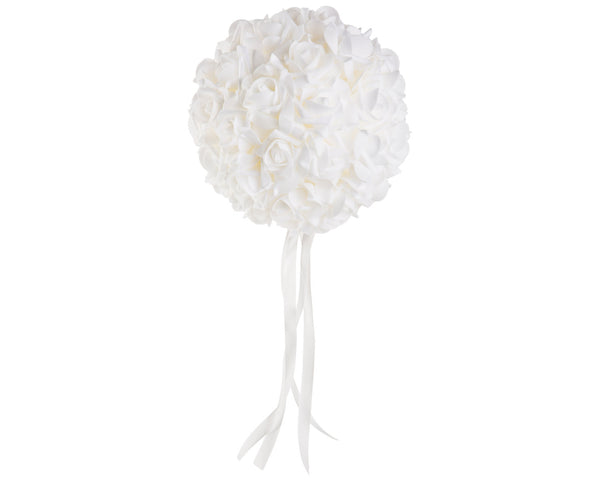 "8"" Diameter White Kissing Ball - World of Weddings"