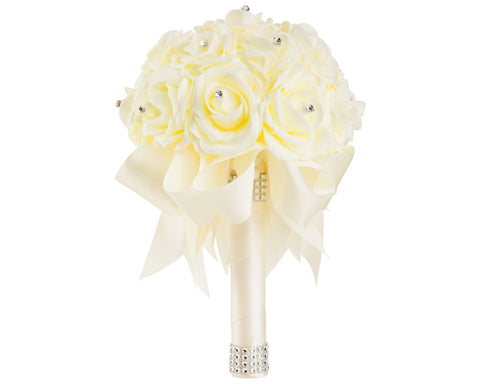 Ivory Foam Rose Wedding Bouquet with Ivory Ribbon - World of Weddings
