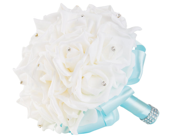 White Foam Rose Wedding Bouquet with Light Blue Ribbon | World of Weddings