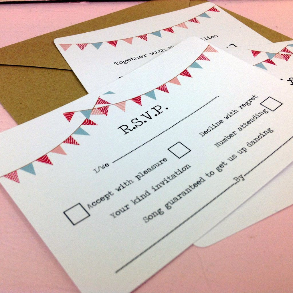REAL WEDDINGS - Jenny & Mark Custom made Vintage Bunting  Wedding Invitations