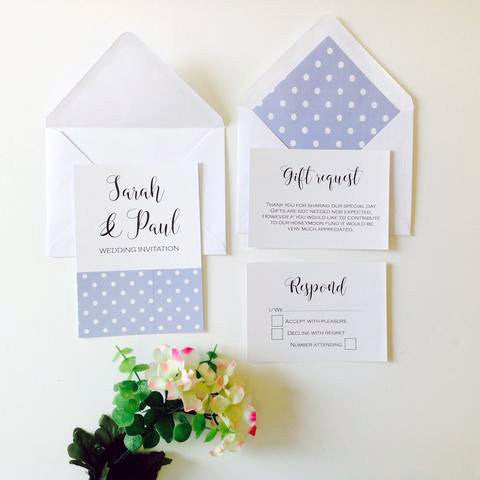 Our Polka dot design wedding invitation and enclosure cards