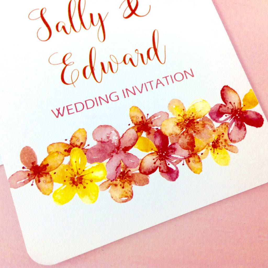 Showcasing our Orange Blossom Design Wedding Invitation,