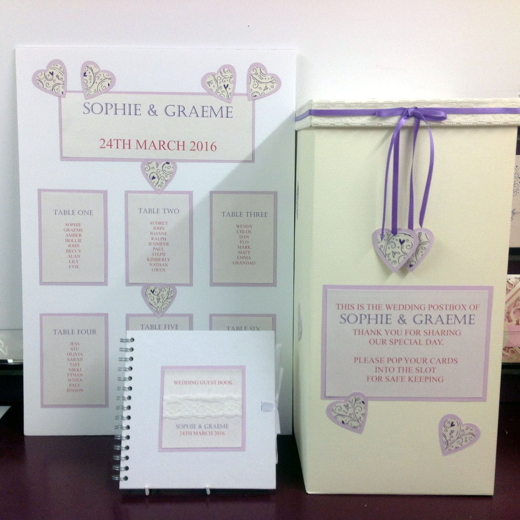 BE INSPIRED Soft Lavender & Lilac Double heart Invitations & Stationery