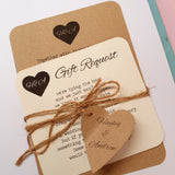 KRAFT & IVORY MONOGRAM HEART WEDDING INVITATION & STATIONERY BUNDLE