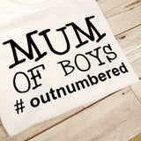 MUM OF BOYS OUTNUMBERED T-SHIRT LADYFIT