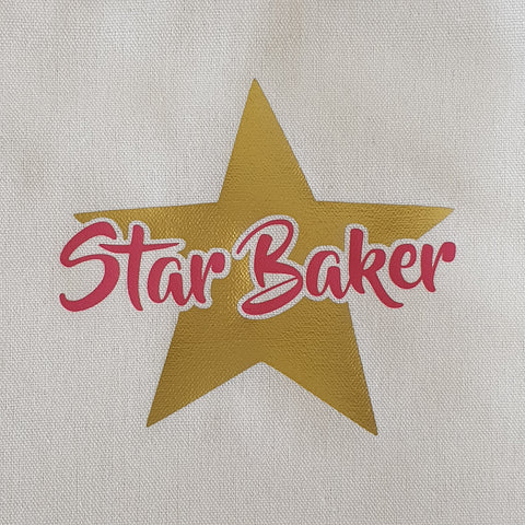 CHILDRENS APRON - PINK STAR BAKER