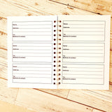 Address Book / Contact Book - A4 or A5 Spiral Bound with 60 pages