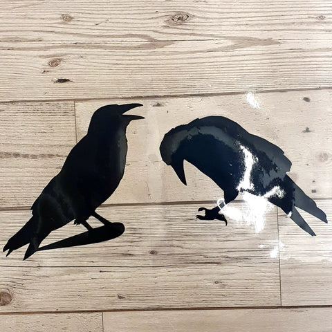 CROW VINYL DECAL FOR WINDOW CAR LAPTOP MIRROR DRINKS BOTTLE