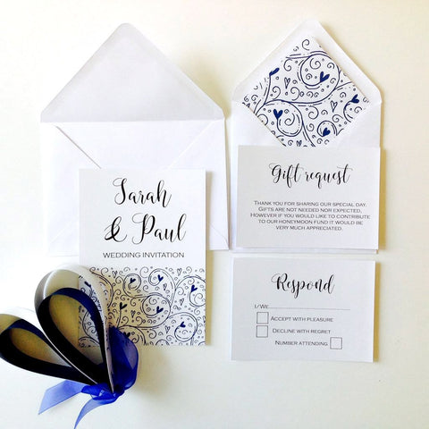 BAROQUE DESIGN WEDDING INVITATION &STATIONERY BUNDLE