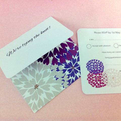 All-in-One Firework Flower Design Wedding Invitation, Stationery & Matching Accessories