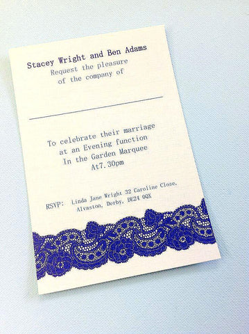 BLUE VINTAGE LACE WEDDING INVITATION & STATIONERY BUNDLE