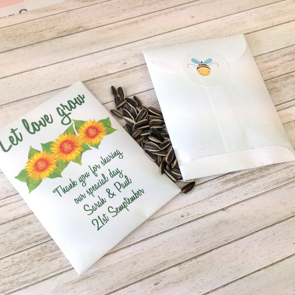 Sunflower Let Love Grow Seed Packet Wedding Favour – Inspired by Script