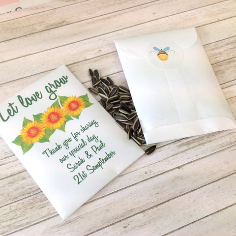 Sunflower Let Love Grow Seed Packet Wedding Favour Inspired By Script