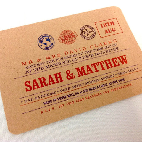 TRAVEL WEDDINGS - PERSONALISED, FLAT WEDDING INVITATION & STATIONERY BUNDLE - KRAFT