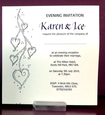 tumbling hearts themed personalised flat wedding invitations