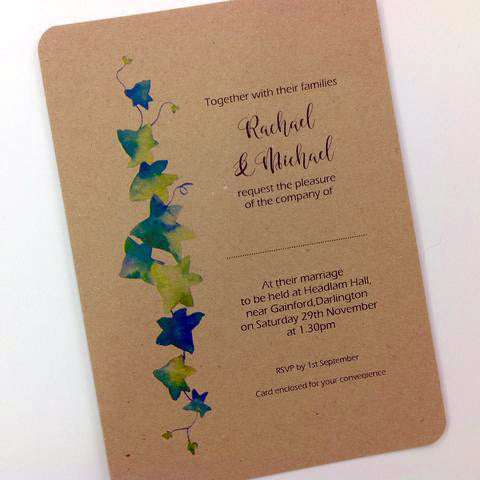 IVY DESIGN PERSONALISED, FLAT WEDDING INVITATION BUNDLE -KRAFT