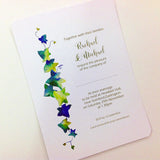IVY DESIGN PERSONALISED, FLAT WEDDING INVITATION BUNDLE - WHITE