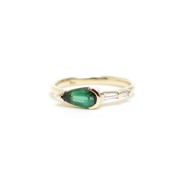 Channel Set Pear Shaped Green Tourmaline Ring in Yellow Gold
