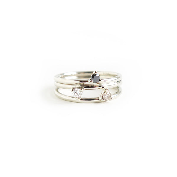 Trio of Three Claw Mini Diamond Rings in White Gold