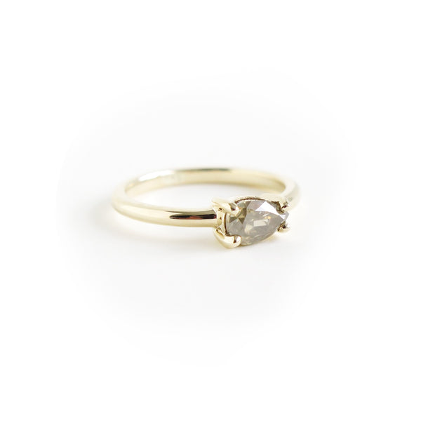 Greyish Yellow Pear Shape Diamond Ring