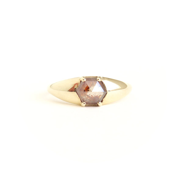 Orangey Brown Hexagon Diamond Signet Ring