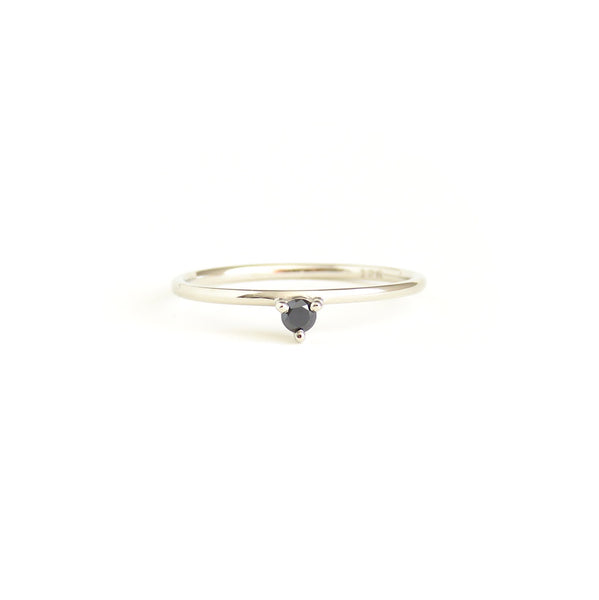 Three Claw Mini Black Diamond Ring in White Gold