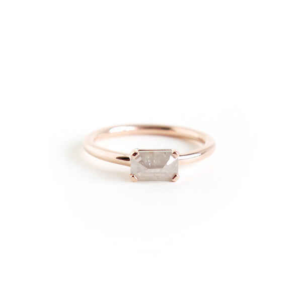 Light Grey Emerald Cut Diamond Ring
