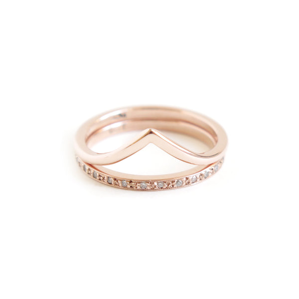 Wishbone and Half Eternity Band Stack in Rose Gold