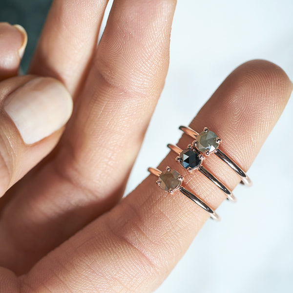 Four Claw Brown Rose Cut Diamond in Rose Gold