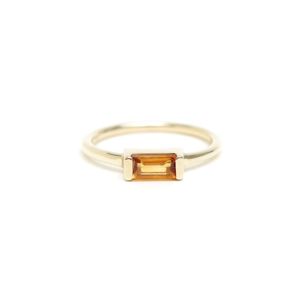 Channel Set Citrine Baguette Ring in Yellow Gold