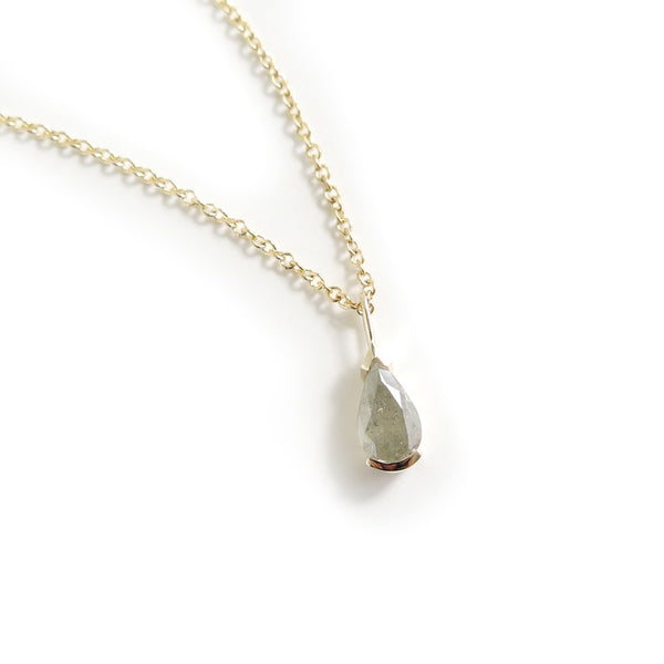 Grey Pear Shaped Diamond Pendant