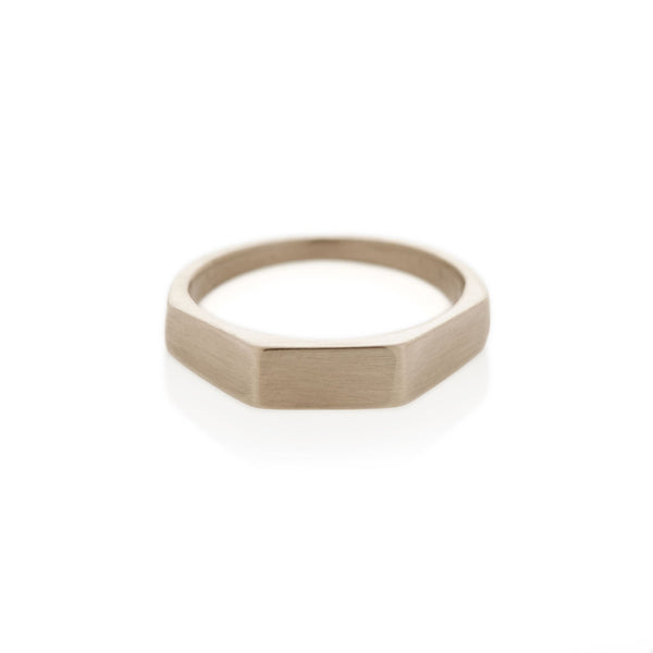 White Gold Three Edge Signet Ring