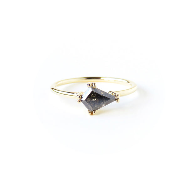 Yellowish Black Kite Shaped Diamond Ring
