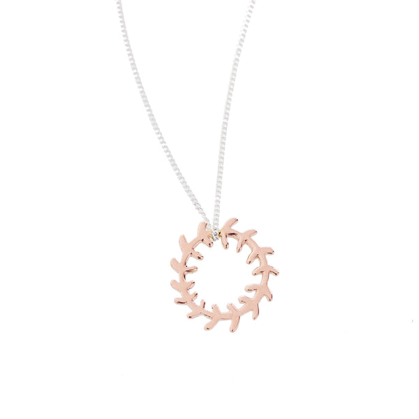 Rose Gold Wreath Pendant on a Silver Chain