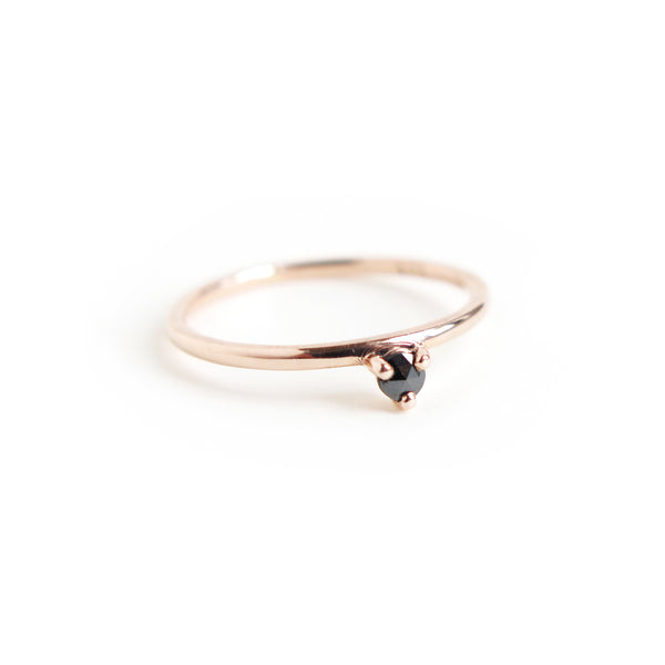 Three Claw Mini Black Diamond Ring in Rose Gold