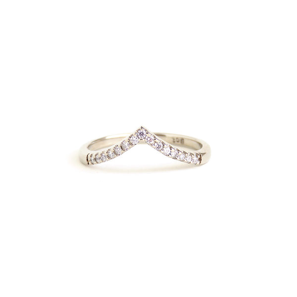 Diamond Wishbone Ring in White Gold