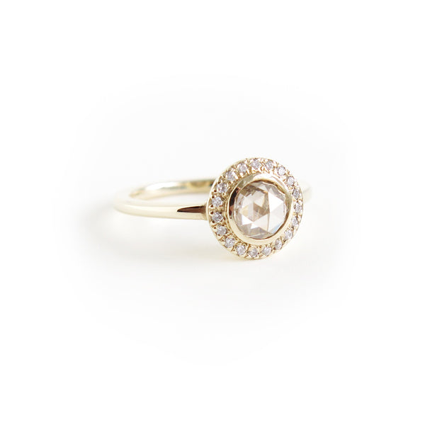 Light Brown Rose Cut Diamond Halo Ring