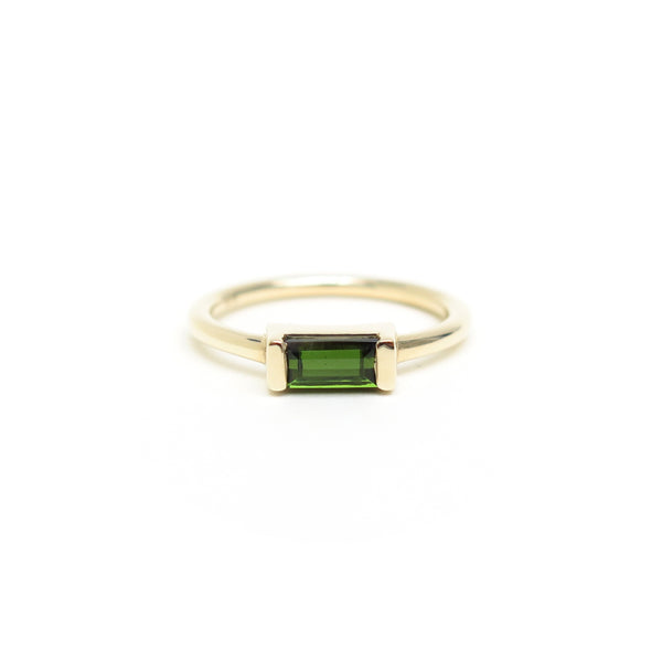 Channel Set Tourmaline Baguette in Yellow Gold