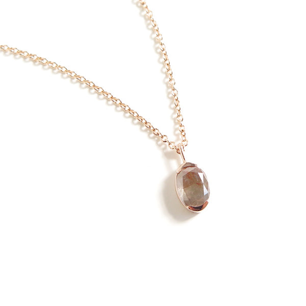 Brown Grey Oval Diamond Pendant