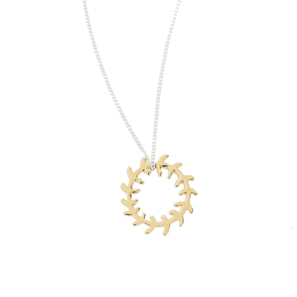 Yellow Gold Wreath Pendant on a Sterling Silver Chain
