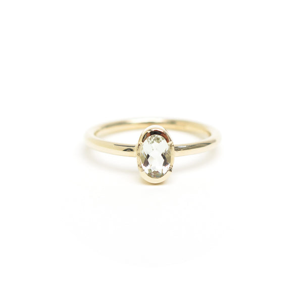 Channel Set Oval Praisolite Ring in Yellow Gold