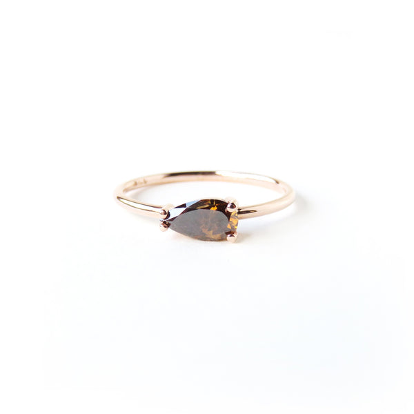 Orangey Brown Pear Shaped Diamond Ring