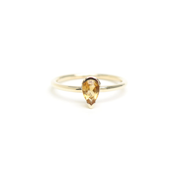 Channel Set Pear Shaped Citrine Ring in Yellow Gold