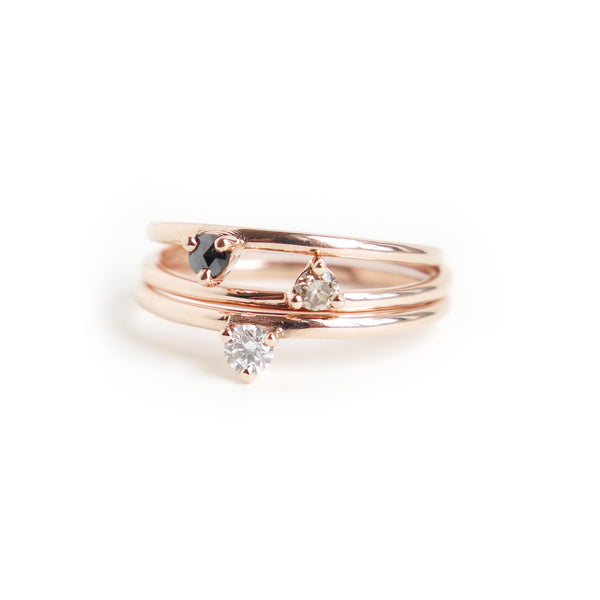 Trio of Three Claw Mini Diamond Rings in Rose Gold
