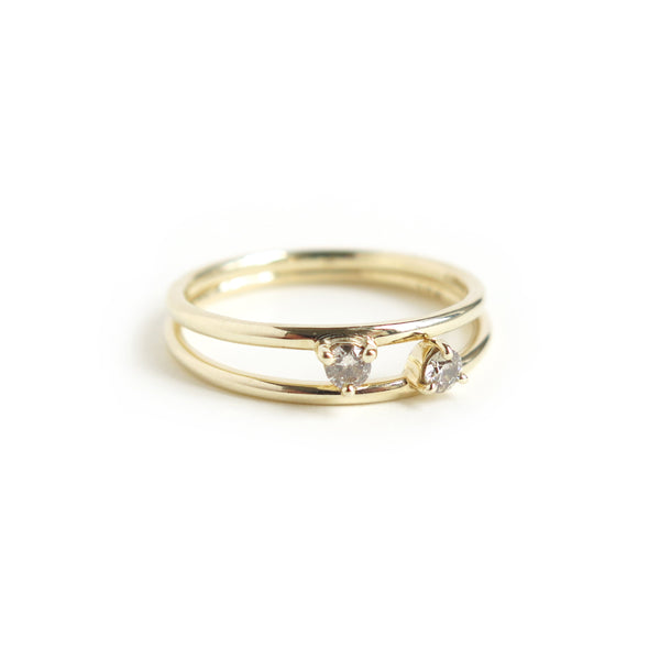 Duo of Three Claw Mini Diamond Rings in Yellow Gold