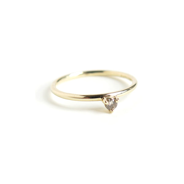 Three Claw Mini Cognac Diamond Ring in Yellow Gold
