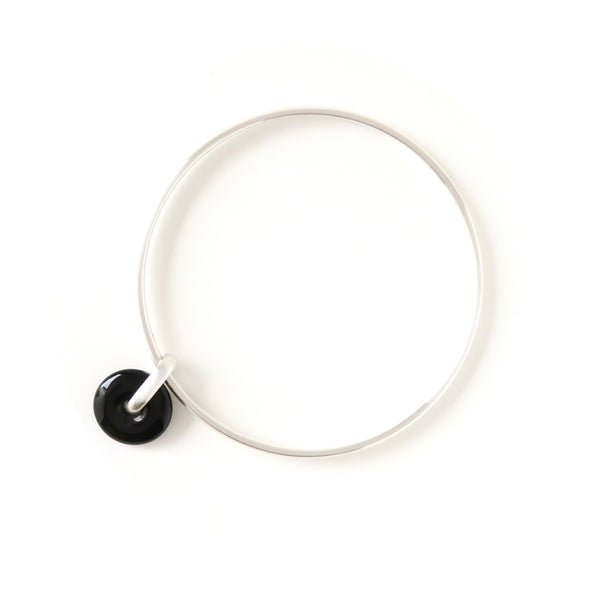 The Halo Bangle in Silver with Agate