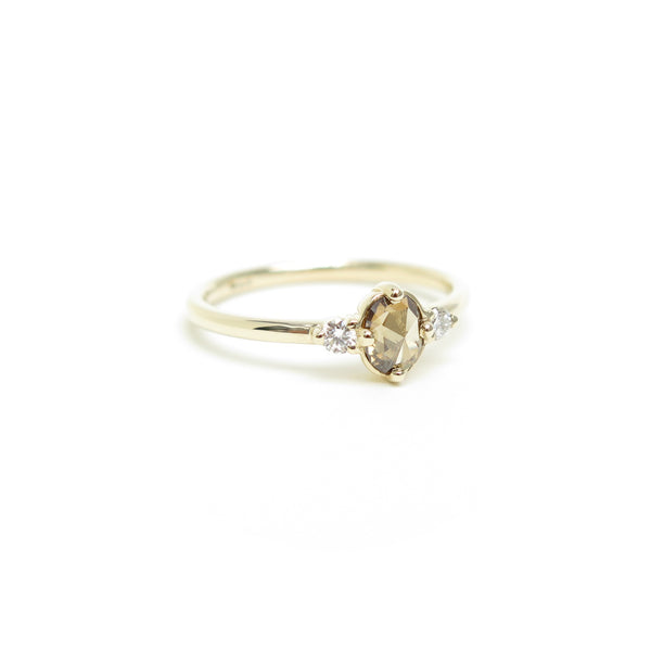 Brown Oval Rose Cut Diamond Trilogy Ring in Yellow Gold